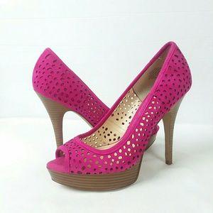 Enzo Angiolini Sully Pink Platform Peep Toe Heels